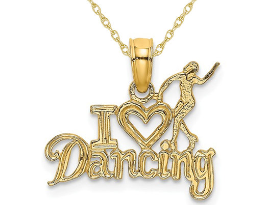 14K Yellow Gold I Heart Dancing Charm Pendant Necklace with Chain