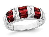 1.65 Carat (ctw) Baguette Garnet and White Topaz Ring in Sterling Silver