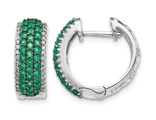 1.35 Carat (ctw) Natural Green Emerald Hoop Earrings in 14K White Gold with Diamonds 1/4 Carat (ctw)