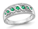 1/4 Carat (ctw) Natural Emerald Band Ring in 14K White Gold with Diamonds 1/4 Carat (ctw) with Diamonds