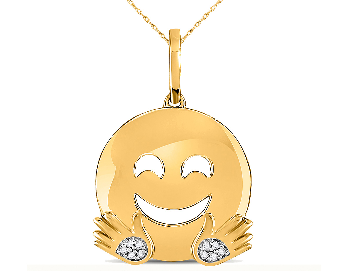 10K Yellow Gold Hugs Emoji Charm Pendant Necklace in 10K Yellow Gold with Chain