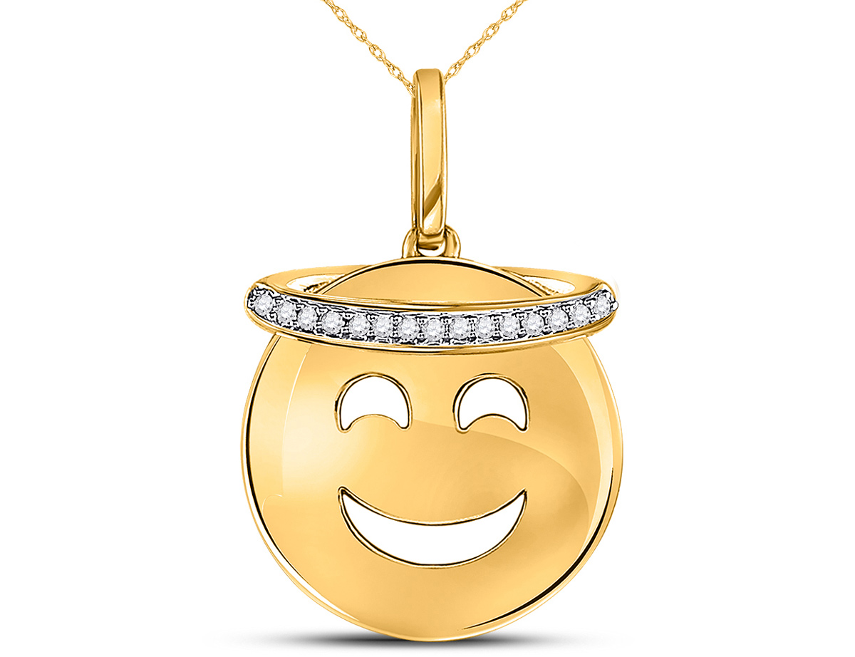 10K Yellow Gold Smiley Face Halo Emoji Charm Pendant Necklace in 10K Yellow Gold with Chain