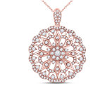 7/8 Carat (ctw H-I, I1-I2) Diamond Circle Pendant Necklace in 14K Rose Pink Gold with Chain