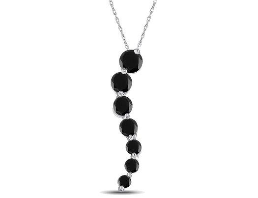 Black Diamond Journey Pendant Necklace 1/2 Carat (ctw) in 10K White Gold