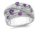 Purple Amethyst Ring Band 2/5 Carat (ctw) in Sterling Silver