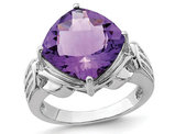 6.50 Carat (ctw) Natural Cushion-Cut Amethyst Ring in Sterling Silver