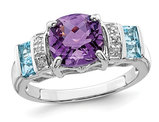 2.25 Carat (ctw) Amethyst and Blue Topaz Ring in Sterling Silver with Accent Diamonds