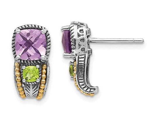 2.00 Carat (ctw) Natural Amethyst and Peridot Post Earrings in Sterling Silver
