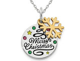 Sterling Silver Snowflake Merry Christmas Charm Pendant Necklace with Chain