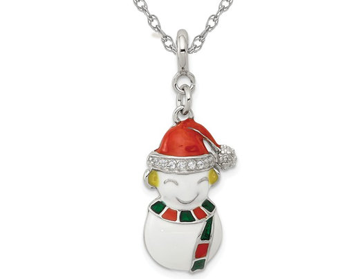 Sterling Silver Christmas Snowman Charm Pendant Necklace with Chain