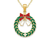 14K Yellow Gold Christmas Wreath Charm Pendant Necklace with Chain