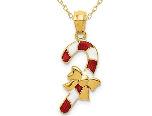 14K Yellow Gold Candy Cane Charm Pendant Necklace with Chain