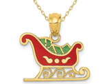 14K Yellow Gold Sleigh Charm Pendant Necklace with Chain