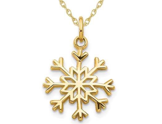 14K Yellow Gold Snowflake Charm Pendant Necklace with Chain