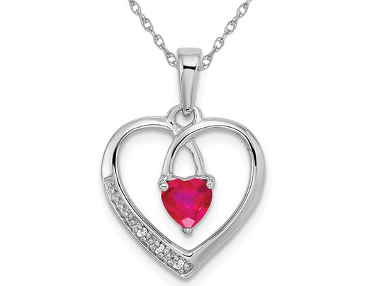 3/10 Carat (ctw) Natural Ruby Heart Pendant Necklace in 14K White Gold with Chain
