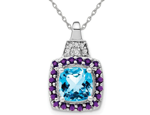 1.30 Carat (ctw) Blue Topaz and Amethyst Pendant Necklace in 14K white Gold with Chain