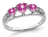 3/4 Carat (ctw) Three Stone Lab Created Pink Sapphire Ring in 14K White Gold