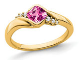 2/3 Carat (ctw) Lab Created Pink Sapphire Ring in 14K Yellow Gold