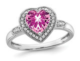 1.48 Carat (ctw) Lab Created Pink Sapphire Heart Ring in 14K White Gold with Diamonds