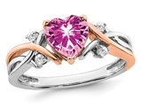 1.12 Carat (ctw) Lab Created Pink Sapphire Heart Ring in 14K White and Yellow Gold with Diamonds