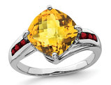 2.75 Carat (ctw) Natural Citrine Ring in Sterling Silver with Garnets