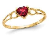 10K Yellow Gold Natural Red Garnet Heart Promise Ring 1/2 Carat (ctw)