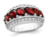 2.50 Carat (ctw) Garnet and White Topaz Ring in Sterling Silver
