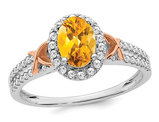 1.00 Carat (ctw) Citrine Ring in 14K White Gold with Diamonds