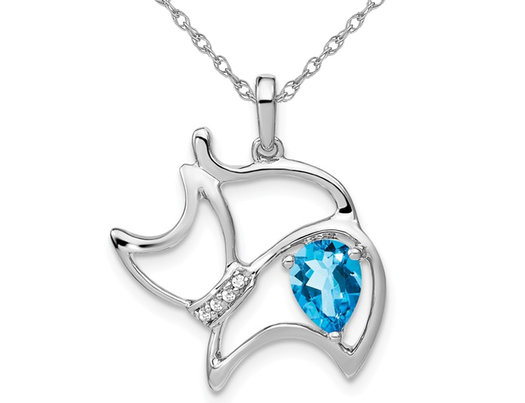 14K White Gold 3/4 Carat (ctw) Natural Blue Topaz Cat Charm Pendant Necklace with Chain