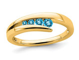 1/5 Carat (ctw) Natural Swiss Blue Topaz Band Ring in 14K Yellow Gold
