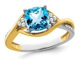 1.25 Carat (ctw) Natural Blue Topaz Ring in 14K Yellow and White Gold with Diamonds