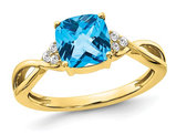 1.75 Carat (ctw) Natural Blue Topaz Ring in 10K Yellow and White Gold with Diamonds