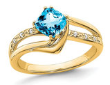1.20 Carat (ctw) Natural Blue Topaz Ring in 14K Yellow Gold