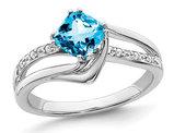 1.20 Carat (ctw) Natural Blue Topaz Ring in 14K White Gold