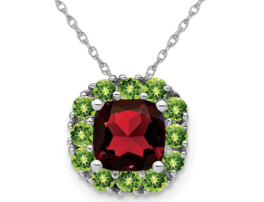 1.65 Carat (ctw) Garnet and Peridot Pendant Necklace in 14K White Gold with Chain