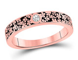 1/20 Carat (ctw) Diamond Floral Anniversary Band Ring in 14K Rose Pink  Gold
