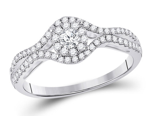 1/2 Carat (ctw G-H, I1-I2) Halo Diamond Engagement Ring in 14K White Gold