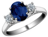 Blue Sapphire Ring with Diamonds 1.10 Carat (ctw) in 14K White Gold