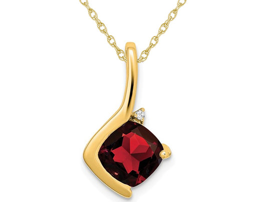 2.00 Carat (ctw) Natural Garnet Pendant Necklace in 14K Yellow Gold with Chain