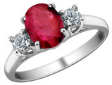 Ruby Ring with Diamonds 9/10 Carat (ctw) in 14K White Gold