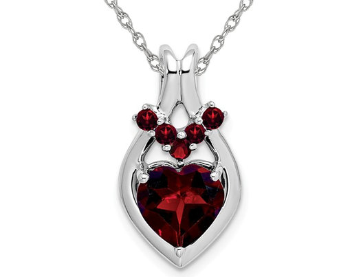 Natural Red Garnet 2.15 Carat (ctw) Heart Pendant Necklace in 14K White Gold with Chain