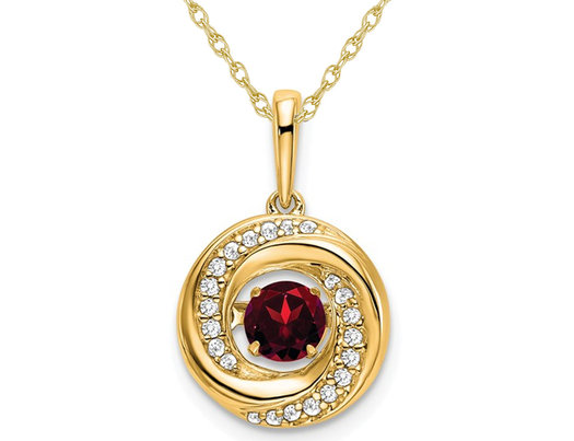 1/3 Carat (ctw) Natural Garnet Circle Pendant Necklace in 14K Yellow Gold with Chain and Diamonds