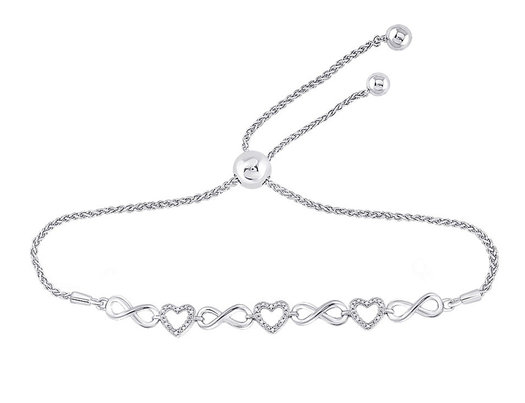 10K White Gold Heart Bolo Bracelet 1/12 Carat (ctw)
