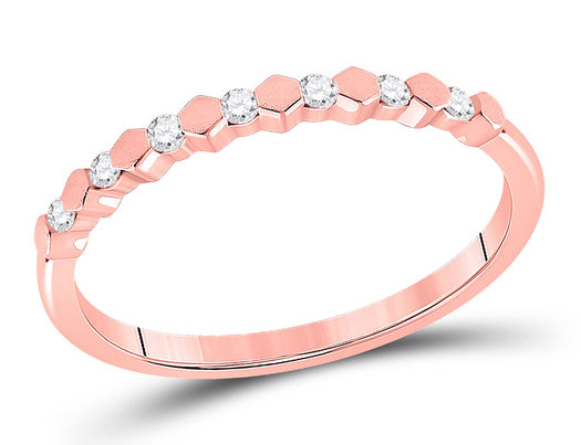 1/10 Carat (ctw G-H,I2-I3) Diamond Stackable Ring Band in 14K Rose Pink Gold