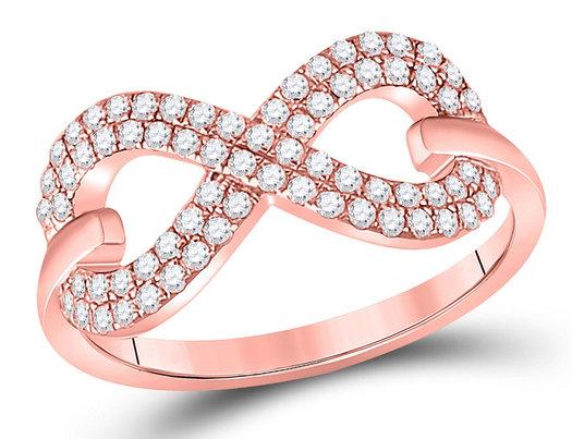1/3 Carat (ctw G-H,I2-I3) Diamond Infinity Ring in 10K Rose Pink Gold