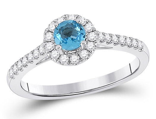 Natural Blue Topaz Ring 1/3 Carat (ctw) with Diamonds 1/4 Carat (ctw G-H, I2-I3) in 14K White Gold