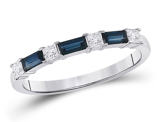 2/5 Carat (ctw) Natural Blue Sapphire Anniversary Band Ring in 14K White Gold with Diamonds 1/4 Carat (ctw)