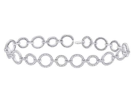 2.00 Carat (ctw G-H, I1-I2) Diamond Circle LInk Bracelet in 14K White Gold