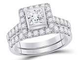 2.00 Carat (ctw G-H, I1-I2) Princess Cut Diamond Engagement Ring and Wedding Band in 14K White Gold