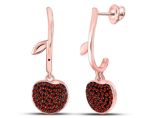 1/4 Carat (ctw) Red Diamond Cherry Charm Cluster Dangle Earrings in 10K Rose Pink Gold